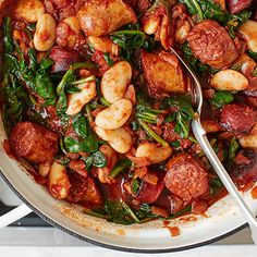 A wonderfully warming dish, this hearty sausage casserole is packed with chunky chorizo slices, creamy butter beans and vibrant spinach. Learn how to make this comforting one-pot with our simple step-by-step recipe. | Tesco
