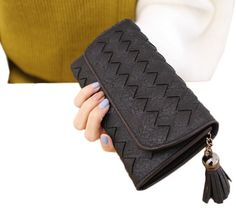 Bigood Women Diamond Wave Pattern Tassels Long Purse Notecase Card Wallet Black. Material:PU. Size:19.2*9.8cm. Designed to hold cash, cards and other little things; you can simply hold it on hand or put it in bag. Multi-storey fold is designed for you to keep your things oraganized well and easy to use.Perfect Zipper Pocket place / travel / business. Put it into your handbag, can hold bills, change, credit cards, photo, ID card, business card, etc,It is very elegant and suitable for many...