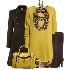 """""""Yellow & Brown"""" by shakerhaallen on Polyvore"""