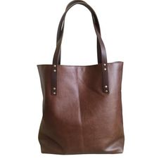 simple leather tote // brown by TCLA