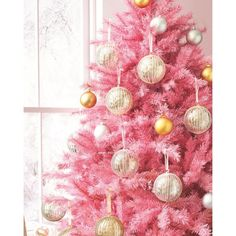 Pretty In Pink Christmas Tree ❤ liked on Polyvore featuring home, home decor, holiday decorations and pink home decor