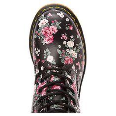 Dr. Martens 1460 W 8-Eye Boot Black Vintage Rose Softy T