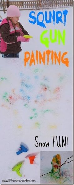Squirt Gun Snow Painting - This is such a fun kids activities for kids of all ages during the winter! So many extension ideas included (winter activities for kids, preschool, kindergarten, 1st grade, 2nd grade)