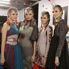 Models backstage in Melinda Looi Couture ready to enter the catwalk at Siam Paragon Bangkok International Fashion Week 2013