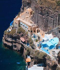 The cave houses in Thira, Santorini Island, Greece | by Anja Gabi