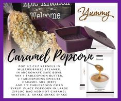 Epicure Recipes, Cooking Recipes, Pampered Chef, Corn Syrup, Caramel, Gluten Free, Snacks, Meals, Steamer