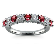 Nine Diamond & Ruby Wedding Ring in Platinum