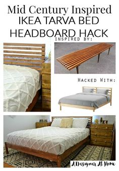 21 Amazing Bed and Headboard IKEA Hacks. Come on in and check out these incredible Bed IKEA Hacks for Kids. Adults and some fabulous Headboard IKEA Hacks! Ikea Headboard, Ikea Bedroom, Headboards For Beds, Headboard Ideas, Bedroom Furniture, Mid Century Bed, Mid Century Modern Bedroom, Bedroom Decor On A Budget, Diy Home Decor
