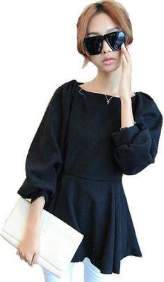 Amazon.co.jp: (willmatch) 長袖 ワンピース チュニック ブラック 黒 アパレル レディース ファッション 服 0049 ノベルティ付: 服&ファッション小物