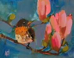 Robin and Magnolias Original Bird Oil Painting by Angela Moulton