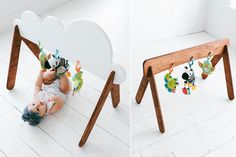 http://www.genderneutralbabyclothes.com/category/activity-gym/ Wooden Baby Gym Custom Colors Available door WhiteOakWoodworks