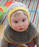 Mum grew tired of the hat-on/hat-off-game, and made a hat that's impossible to get off. This hooded hat also serves as a cowl and keeps head, neck and face warm.