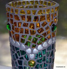 Windlicht herzig gelb grün 14 cm hoch - Mosaikkasten