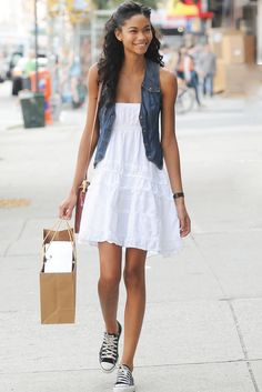 so cute and casual! white dress, vest, black converse