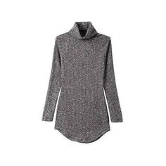 High Neck Grey Knitted Sweater Mini Dress ($34) ❤ liked on Polyvore featuring dresses, sweaters, mini dress, sexy bodycon dresses, sexy mini dress, sexy short dresses and sweater dress