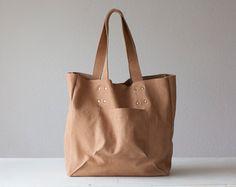 Shopper tote bag in nude beige leather shoulder bag by milloo