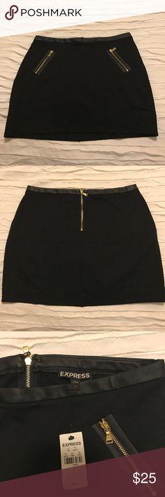 New w/ Tags! Black Express Mini Skirt w/ Zippers Size 2- Black Mini Skirt with a gold Zippers! New with tags! Express Skirts Mini