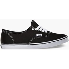 Vans Authentic Lo Pro Womens Shoes ($45) ❤ liked on Polyvore featuring shoes, sneakers, vans, black, black lace up shoes, vans trainers, black trainers, black boat shoes and rubber shoes