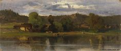 Hjalmar Munsterhjelm (1840-1905) Lehmiä järvimaisemassa, iltatunnelma / Cows in a lakeside setting, evening atmosphere 1870 - Finland - Finnish cows North Europe, Finland, Art Pieces, Culture, History, Gallery, Cityscapes, Photography, Painting