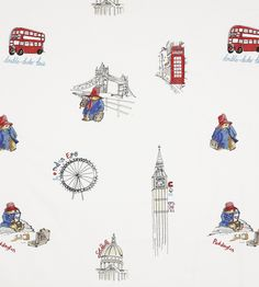 Jane Churchill London Sights Paddington ™ Red and Blue Curtain Fabric Room Themes, Nursery Themes, Nursery Ideas, Childrens Curtains, Chinoiserie Motifs, Bear Nursery, Bear Wallpaper, Fabric Wallpaper, Paddington Bear