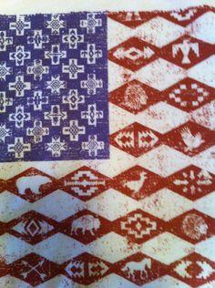 Mens Tee Tshirt American Flag United States Vintage America American Southwest Aztec Indian Native American Navajo  USA Americana Size Small