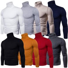 Mens Slim Fit Knitted Sweater Turtleneck Jumper Knitwear Pullover Knitting Tops - Ideas of Turtleneck Mens Fashion Sweaters, Sweater Fashion, Men Sweater, Trend Fashion, Fashion Mode, Fashion Outfits, Warm Sweaters, Casual Sweaters, Moda Masculina