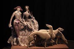 Lord & Lady walking whippets ~ textile doll by Tatiana Ovchinnikova