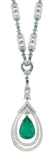 An emerald and diamond necklace. Christie's.