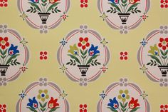 1940's Vintage Wallpaper Bright Flowers and by RosiesWallpaper