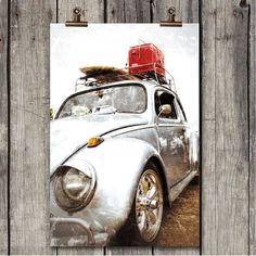 Vintage Silver Bug - Old Volkswagen - Classic Auto - Fredericksburg, TX - Fine Art Photography Print