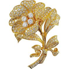 Preowned Fabulous Diamond Gold Platinum Flower Brooch ($9,850) ❤ liked on Polyvore featuring jewelry, brooches, multiple, leaf jewelry, leaf brooch, gold leaf brooch, gold leaf jewelry and diamond jewellery
