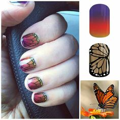 Did you know you can layer Jamberry Nail Wraps?  Well, you can!  Adam's Favorite-tint over Butterfly Effect.  Georgeous!