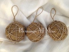 Three 3 Inch Rustic Burlap Christmas Tree Ornaments, Neutral Burlap-Wrapped Foam Bulbs wrapped in Jute Twine with Jute Twine Hangers