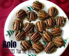 Rolo Pretzel Turtle Bites  Preheat oven to 350 degrees. Lay pretzels all over cookie sheet lined with parchment paper or foil. Put a Rolo on top of each pretzel. Place in oven and cook for 3-4 minutes. Pull out of the oven and press a pecan half gently onto each Rolo. Let them set up so you can transfer them to a plate (pop them in the fridge if you want them to set-up quickly!). Put them in a cute cellophane bag for a quick and yummy Gift.