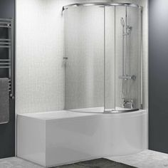 Jonathan 1700 P-Shaped Enclosed Shower Bath with Screen & Front Panel. Proudly Brought to you by Drench. Bathtub Shower, Shower Enclosure, Glass Shower, P Shaped Bath, Bath Screens, Shower Fittings, Bath Panel, Large Baths, Shower Screen