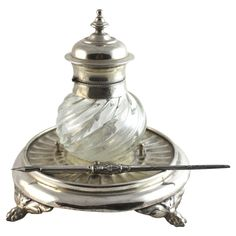 Very charming antique silver plate ink well with sterling dip pen