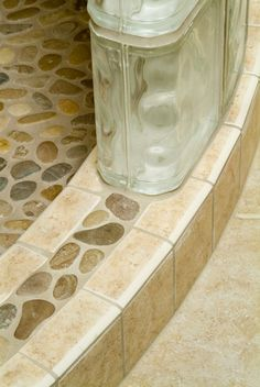Captivating Corner shower remodeling basement bathroom ideas,Shower remodeling tile master bath ideas and Shower remodel handicap ideas. Basement Bathroom, Small Bathroom, Glass Block Shower, Pebble Shower Floor, Small Shower Remodel, Master Bath Remodel, Master Shower, Bad Inspiration, Glass Blocks