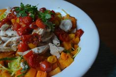 GF The Tasty Alternative: Zughetti with Roasted Butternut Squash, Roasted Cherry Tomatoes and Baked Chicken Topped with Lemon Garlic Cashew Sauce