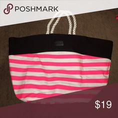 Victoria's Secret tote bag Black, white, and hot pink VS large tote. Rope handles. Super cute bag! PINK Victoria's Secret Bags Totes