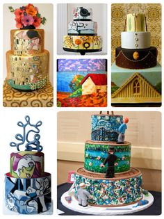 Wedding cakes inspired by art the kiss american gothic mosaic
