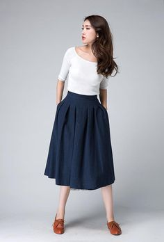 high waist Skirt,midi skirt,midi skirt,knee length skirt, Dark Blue skirt, linen skirt,Pleated skirt,A line skirt, womens skirts, gift 1500