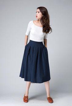 high waist Skirtmidi skirtmidi skirt over knee length by xiaolizi