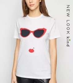 Shop White Sunglasses Lady T-Shirt. Discover the latest trends at New Look. Types Of Sunglasses, White Sunglasses, Leather Look Jeans, White Flamingo, White Shop, Casual Looks, New Look, Black Tops, Organic Cotton
