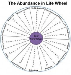 Abundance in life wheel... have clients in group use one color to mark where they are now and a second color to mark where they want to be. Discuss reasons for the discrepancy and how they can achieve their goals.