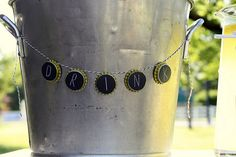 """Cute label for drinks. A bottle cap """"garland"""""""