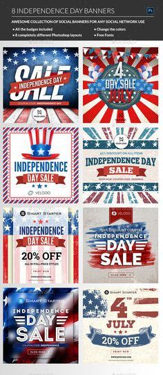 July 4th #Banners - Banners & Ads #Web Elements Download here:  https://graphicriver.net/item/july-4th-banners/20088069?ref=alena994