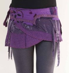 Purple ELF pocket psytrance PIXIE skirt ethnic goa velcro DUBSTEP wrap