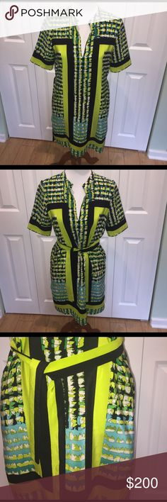 EUC Sz S BCBG silk tunic/dress This is gorgeous!!!! Absolutely love this mini dress/tunic with optional tie waist and pockets. It is perfect for summer bc it is super lightweight and comfortable. Wore this with black Tory Burch Millers and a black clutch. BCBG Dresses Mini