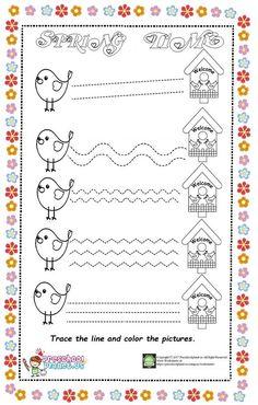 spring trace line worksheet for kids