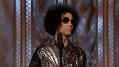 """Pin for Later: Everyone Freaked Out When Prince Showed Up at the Golden Globes And, of course, Prince was just like, """"Aw, shucks."""" What a wonderful, wonderful human."""